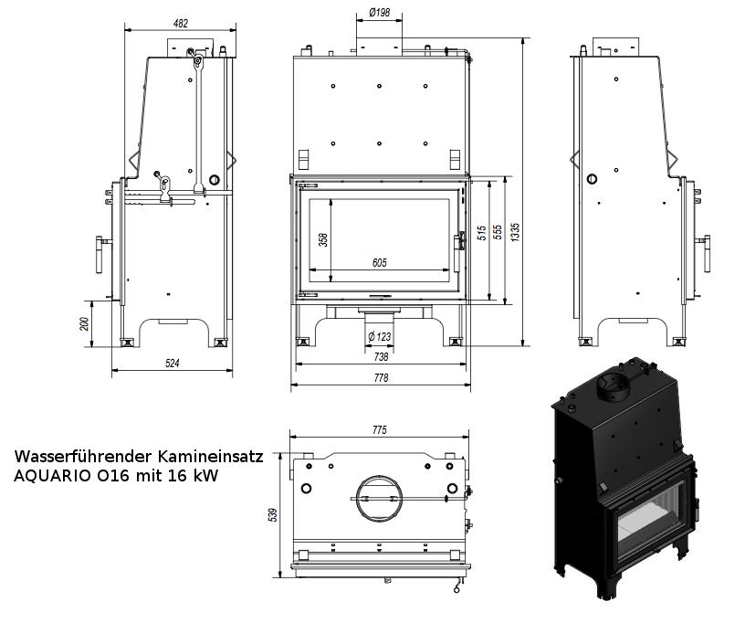 kamineinsatz wasserf hrend aquario o16 heizkamin mit wassertasche 16 kw ebay. Black Bedroom Furniture Sets. Home Design Ideas