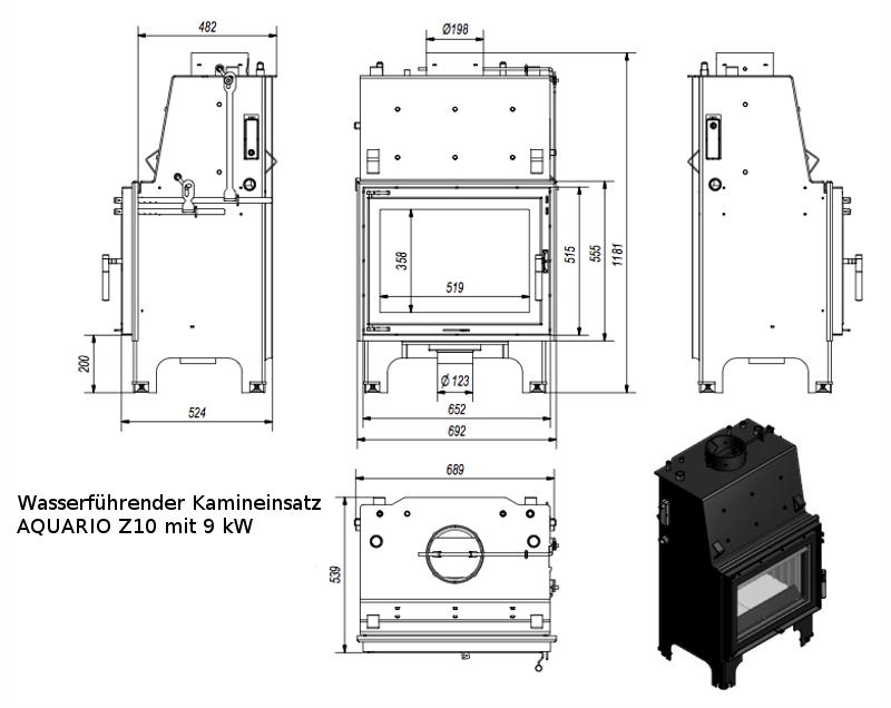 kamineinsatz wasserf hrend heizkamin heizeinsatz 9 kw aquario z10 ebay. Black Bedroom Furniture Sets. Home Design Ideas